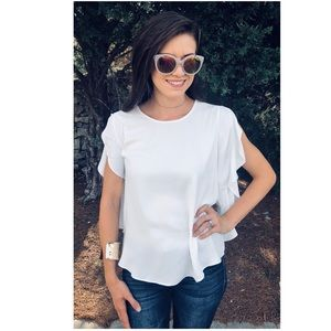 Tops - Classic Off White Flutter Sleeve Top